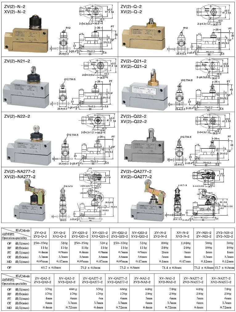 MJ1系列行程开关外形及尺寸图