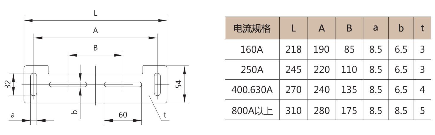 HGL系列隔离开关的外形尺寸