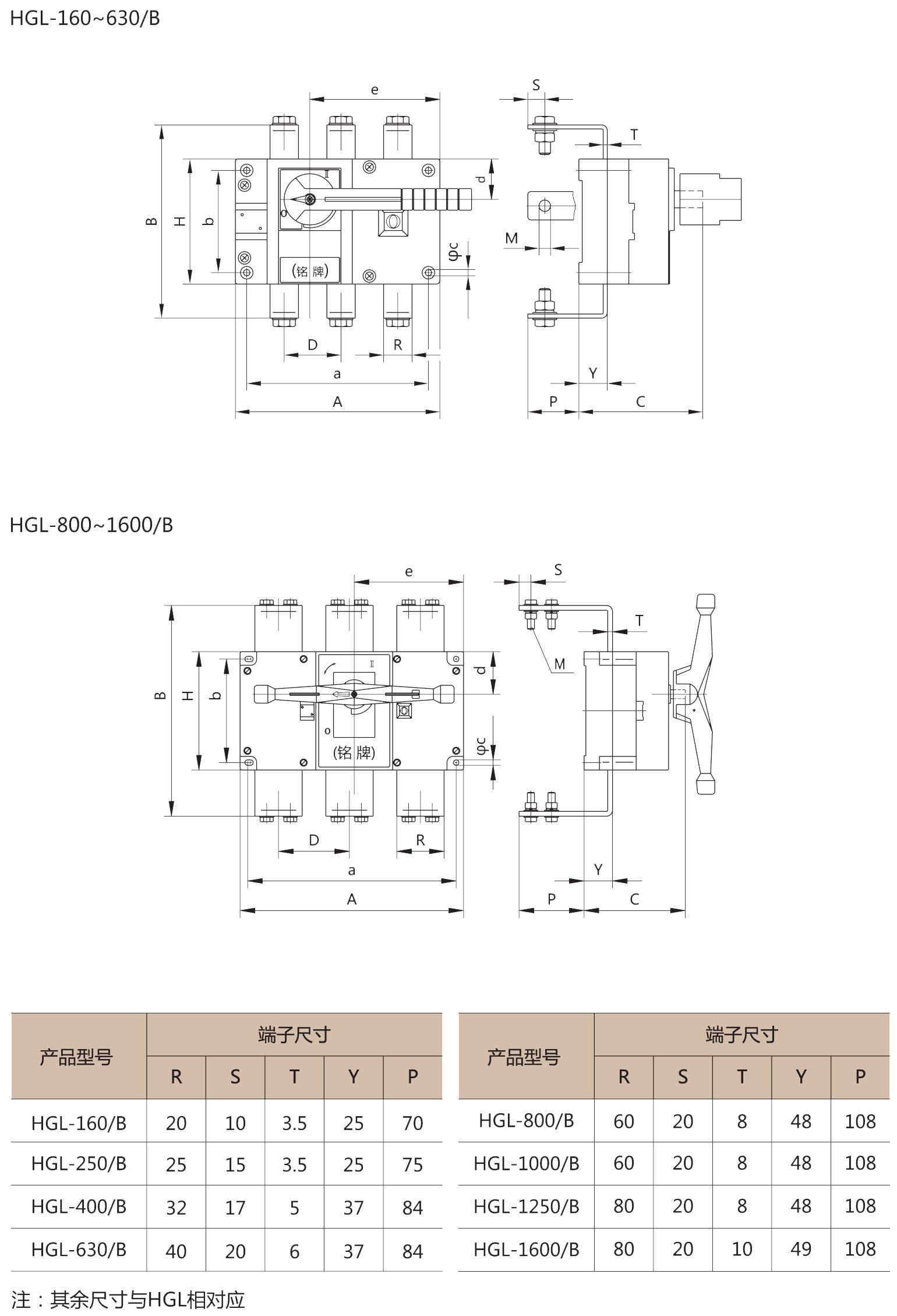 HGL-160~1600/B(板后接线)外形安装尺寸