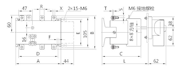 HH15(QSA)-63~800外形与安装尺寸