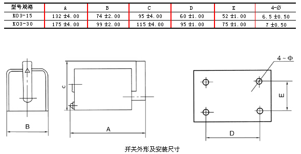 ko3系列倒顺开关接线图外形及安装尺寸图
