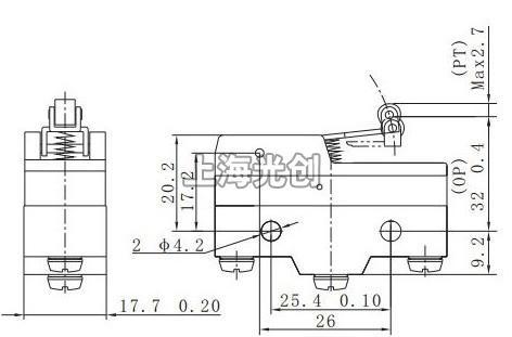 Z15系列微动开关外形尺寸